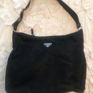 Prada black nylon shoulder purse adjustable strap
